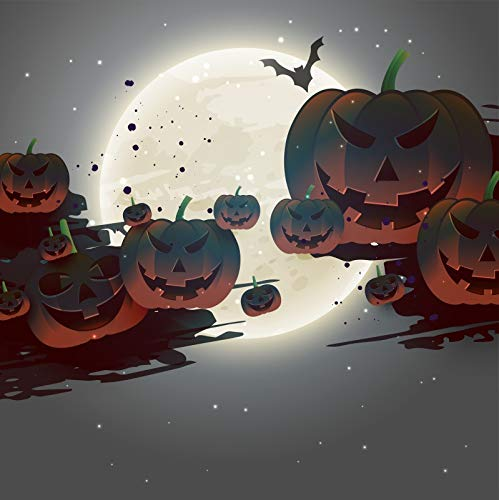 Baocicco 7x7ft Happy Halloween Backdrop Scary Pumpkin Face Full Moon Flying Bats Photography Background Halloween Eve Party Trick or Treat Night Party Costume Party Children Adults Portrait Prop]()