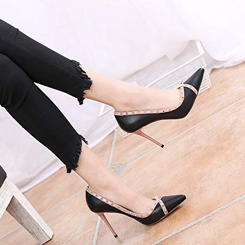 shoes Joking thin pointy Black heels shoes sexy high LBTSQ women's shallow fashionable 9cm rivets dRI1dF
