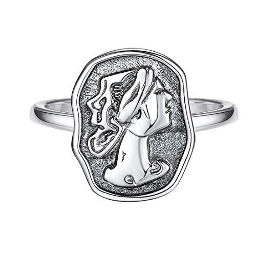 (Vintage Signet Rings Men Women 925 Sterling Silver Ring, Oxidized Dainty Irregular AncientRoman Art Signet GreekCoin Ring StatementRing Promise Band Adjustable Stackable Ring)