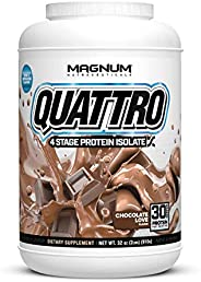 Magnum Nutraceuticals Quattro Protein Powder - 2lbs - Chocolate Love - Protein Isolate - Lean Muscle Creator -