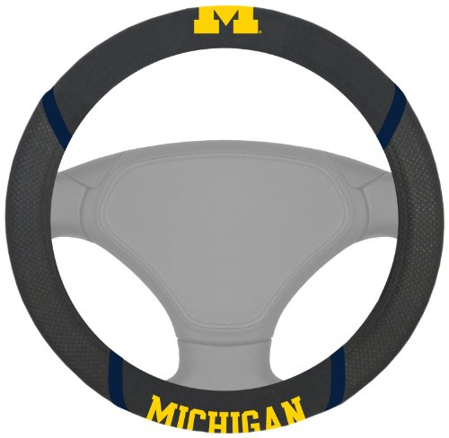 FANMATS  14822  NCAA University of Michigan Wolverines Polyester Steering Wheel Cover (Polyester Logo University)