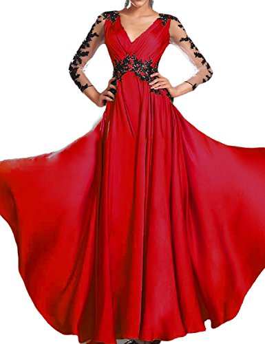 OYISHA Women's Long Ruched V-Neck Chiffon Evening Dresses 3/4 Sleeve Formal Ball Gowns 2019 Red 22W