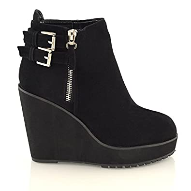 WOMENS WEDGE HEEL CHUNKY PLATFORM CLEATED LADIES BLACK CHELSEA ANKLE BOOTS SHOES
