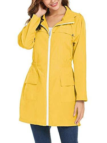 Syvent Women's Waterproof Raincoat Lightweight Active Outdoor Rain Jacket Hood (M, Yellow)