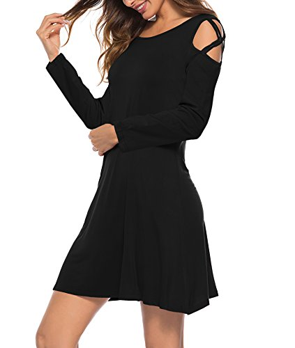 Swing Pockets Shoulder Dress Womens Oyanus Cold Summer Strappy Shirt A1 black Loose T Dresses with nppYw7qxX