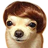 Dog Wig Pet Costumes, FMJI Dog Costume Synthetic Accessories Dog Headwear for Halloween Christmas Eve Festival Party (Brown)