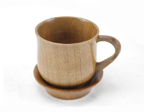 Moyishi Handmade Natural Solid Wood Wooden Tea Cup With handle Wine Mug 150ml With Wooden Coaster Tea Set