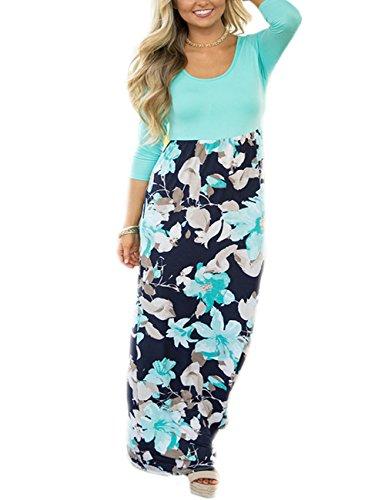 SUNNOE Womens Floral Printed 3/4 Sleeve Sleeveless Scoop Neck High Waist Party Maxi Long Beach Dress
