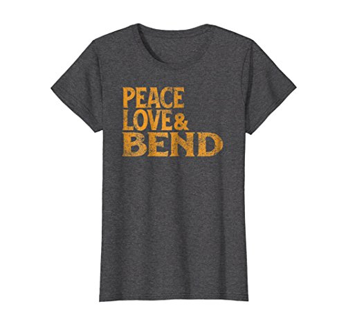 Womens Awesome Retro 1960s Peace Love Bend Oregon T-Shirt Large Dark Heather