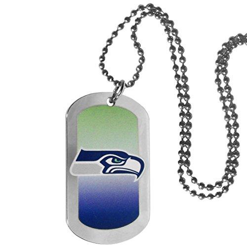 "NFL Seattle Seahawks Team Tag Necklace, Steel, 26"""