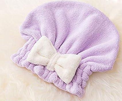 Soft Bow Toallas el cabello Secador de pelo Gorro de secado Gorro de baño Turbante (