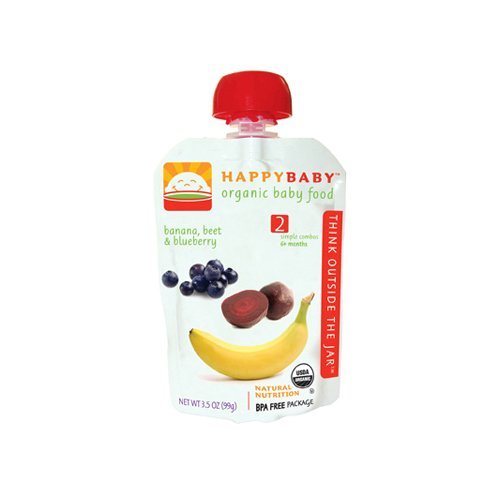 Happy Baby, Baby Food Stage2 Simple Combo Ban Beet Blueberry Organic, 4 Ounce