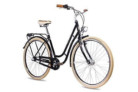 CHRISSON 28 Zoll Retro Citybike Damen - N Lady 3G schwarz - Damen-City-Fahrrad mit Shimano Nexus 3 Gang Nabenschaltung im Ret