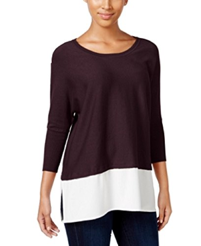Dolman Sleeve Tunic Sweater (Style & Co. Womens Colorblock Dolman Sleeves Tunic Sweater Purple XL)