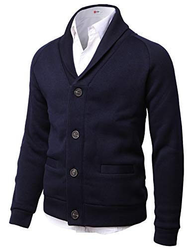 H2H Mens Knitted Fashion Long Sleeve Shawl Collar Button Front Cardigan Navy US L/Asia XL (CMOCAL031)