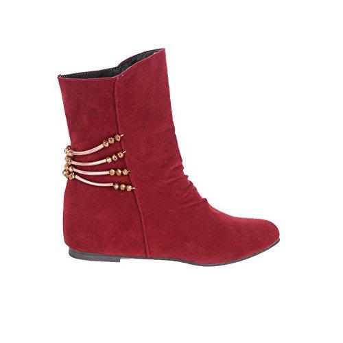 AllhqFashion Damen Mattglasbirne Rein Mittler Absatz Ziehen auf Rund Zehe Stiefel Rot