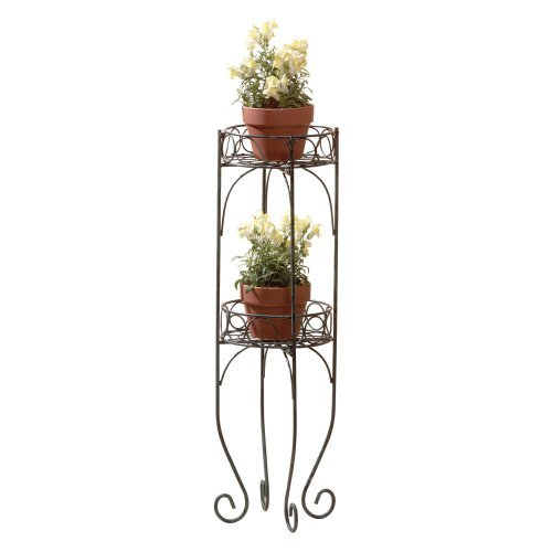 Gifts & Decor Scrolled Metal 2-Tier Planter Plant Stand Shelf Unit Garden, Lawn, Supply, Maintenance -
