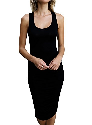 Imily Bela Womens Plain Slim Fit Stretchy Scoop Neck Ruched Casual Midi Tank Dress (Small, Black)