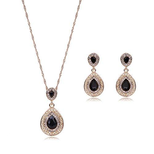 Openwork Teardrop Earrings - MYANAIL Openwork Waterdrop Crystal Cubic Zirconia Necklace Earring Set,Hollow Teardrop Gemstone Pendant Necklace Drop Earrings Jewelry Set (Black)