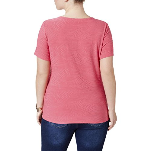 JM Collection Womens Plus Jacquard Textured Casual Top Pink 0X by JM Collection (Image #1)