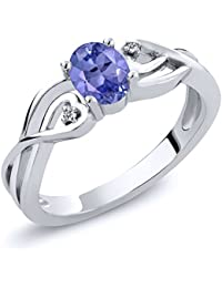 Sterling Silver Oval Blue Tanzanite and White Diamond Ring (0.46 cttw, Available in size 5, 6, 7, 8, 9)