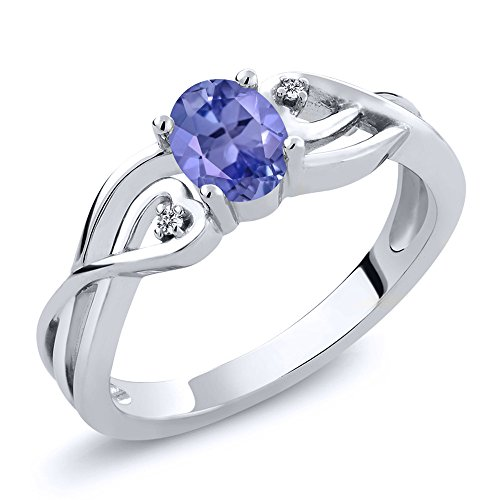Sterling Silver Oval Blue Tanzanite and White Diamond Ring 0.46 cttw (Size - Tanzanite Silver Rings