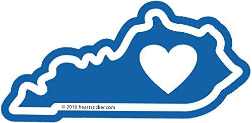 (Heart in Kentucky Sticker Vinyl Decal Label Stickers, Die-Cut Shape for Water Bottle Laptop Luggage Bike Laptop Car Bumper Helmet Waterproof Show Love Pride Local Derby Lousiville Bluegrass KY)