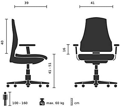 hjh OFFICE 670978 childrens desk chair KID COLOUR fabric blue kids swivel chair height adjustable footrest