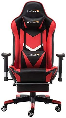 WENSIX Gaming Chair Video Game Chair Ergonomic Racing Chair Computer Chair High-Back PU Leather Massage with Headrest, Lumbar Support and Footrest Red-002