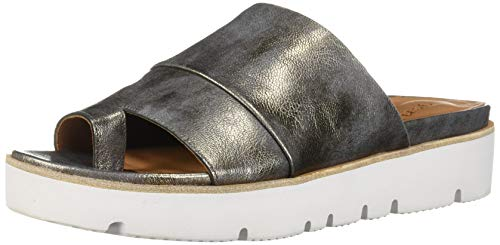 Gentle Souls Women's Lavern Platform Slide Toe Ring Sandal, Pewter, 6 M US