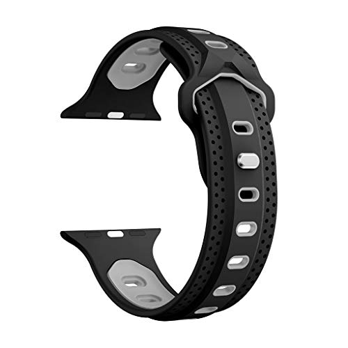 for Apple Watch Series 4 40MM, Unique Two-Tone Y Shape Soft Replacement Sport Silicone Watch Band with Rivets Clasp (Black)