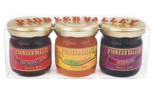 Apricot Pineapple Jam - Pioneer Valley Gourmet Mini Jam Sampler 3 Pack 1.5oz Each - Boysenberry, Apricot Chunky Pineapple, Continental Cherry