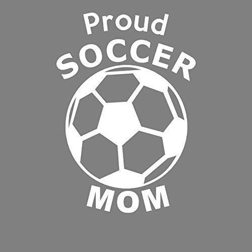 ION Graphics Soccer Decal - Proud Soccer Mom Vinyl Sticker White Transfer - Soccer Bumper Sticker - Soccer Ball Sticker - Perfect Soccer Mom Gift - Made in The USA Size: 3.400