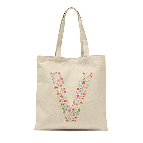 Personalised Floral Alphabet Tote Bag Any Letter Shopper Birthday Gift Present Letter V
