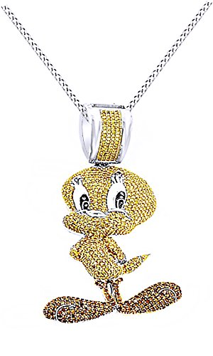Round Cubic Zirconia Tweety Birds Hip Hop Pendant in 14k White Gold Over Sterling Silver (4.11 Cttw) by AFFY