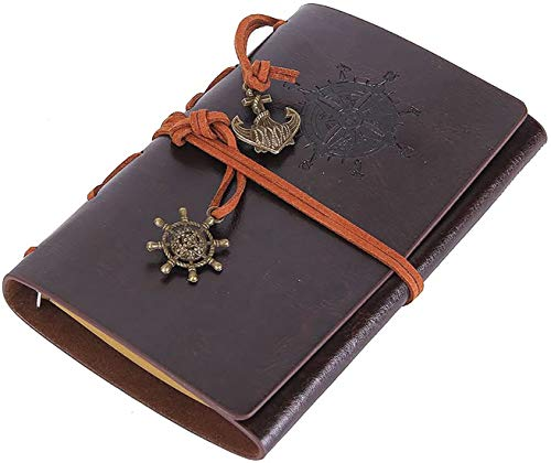 """Leather Writing Journal Notebook, Classic Embossed Vintage Nautical Spiral Blank String Refillable Diary Notepad Sketchbook Travel to Write in, Unlined Paper, Retro Pendants (7.3"""" x5"""", Coffee)"""