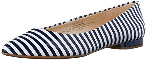 Nine West Women's Onlee Synthetic Pointy Toe Flat, White/Navy Synthetic, 37 B(M) EU/5 B(M) UK