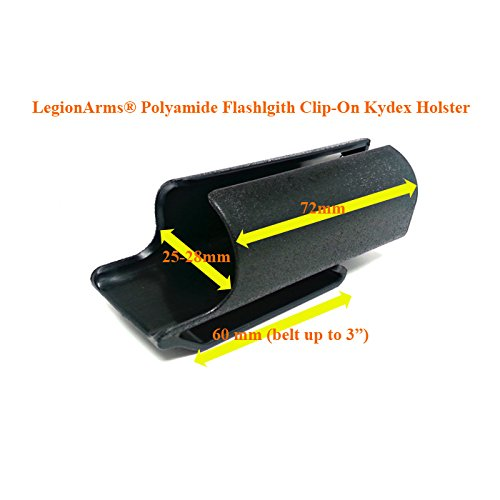 - LegionArms® Polyamide Clip-On Kydex Flashlight Holster for Fenix PD35, Olight M1x S30R, PowerTac E5 E9, ThruNite TN12, Nitecore P12, etc