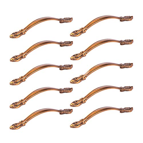 (Fvstar 10pcs Arch Drawer Handles Kitchen Cupboard Pulls Wardrobe Cabinet Pulls Furniture Dresser Hardware Handle with Screws (Coffee Brown, 3.75 inch Hole Centers))