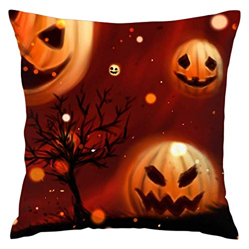 Feddiy Pumpkin Halloween Wallpapers Soft Superfine Fiber Polyester Pillowcase with Strong air permeability-18×18