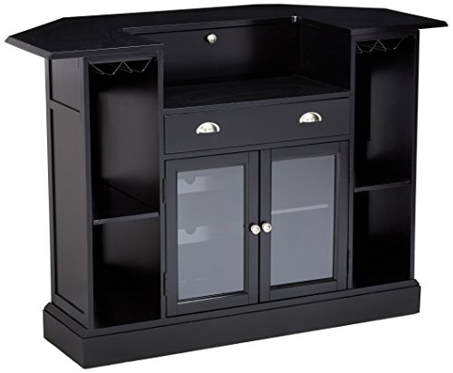 Cheap Inwood 2-door 1-drawer Bar Unit with Wine Rack and Stemware Storage Black and Clear