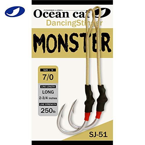 OCEAN CAT Assist Hooks Dancing Stinger Jigging Jigs Hook Monster Butterfly Spirit Long Short Double Slow Fast Fall South California Tuna Bass Shark 2/0, 3/0, 4/0, 5/0,7/0,9/0 (7/0-Monster, 3 Packs)