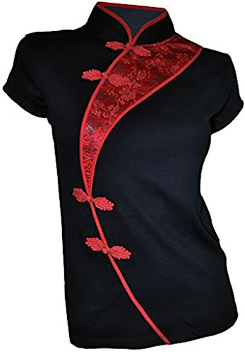 Amazing Grace Elephant Co. Sexy Chinese Dress Top Modern Qipao Cheongsam Top (XXX-Large, China Black) (Chinese Dress Chinese Dresses)