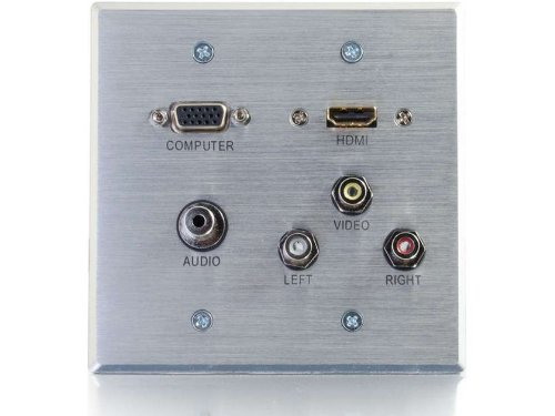 C2G/Cables to Go 39704 HDMI, VGA, 3.5MM Audio, Composite Video and RCA Stereo Audio Pass Through Double Gang Wall Plate, Aluminum
