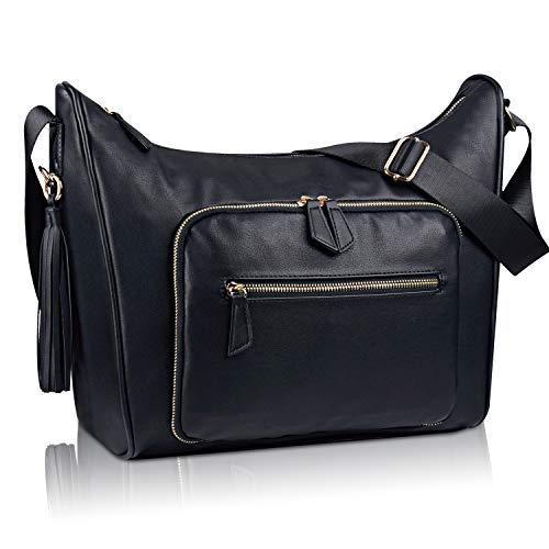 Bertasche Shoulder Bags for Women,Black PU Leather Crossbody Large Capacity Diaper Bag Waterproof Hobo Tote Bag