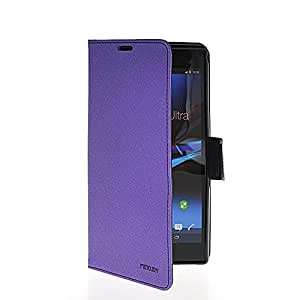 Mayawell Credit Card Slot Holder Mix Color Stand Movie Wallet Side Flip Leather Pouch Cellphone Case for Sony Xperia Z ULTRA XL39H Purple