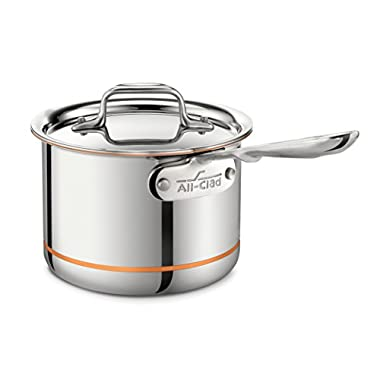 All-Clad 6202 SS Copper Core 5-Ply Bonded Dishwasher Safe Saucepan / Cookware, 2-Quart, Silver