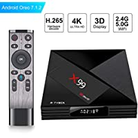 2018 Android TV Box - SCS ETC X99 Android 7.1 TV Box 4GB + 32GB with Voice Remote Control RK3399-6 cores 64-bit to 2.0GHz Support Dual-Band WiFi 1000M 2.4G/5.0G 2T2R Bluetooth Smart TV Box