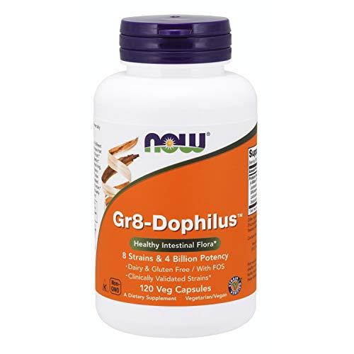 NOW Supplements, Gr8-DophilusTMwith 8 Strains & 4 Billion Potency, Shelf Stable/Enteric Coated, 120 Veg Capsules