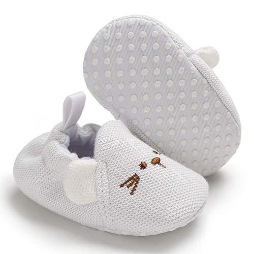 BiBeGoi Baby Girls Boys Slippers (6-12 Months M US Infant, Aa-White) ()